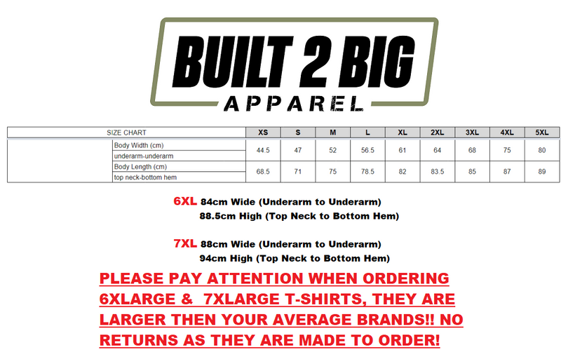*NEW* Built 2 Big Apparel T-Shirt BLACK IN WHITE
