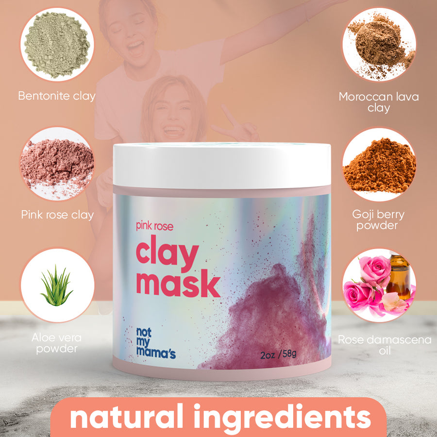 pink rose clay face mask kit goji bentonite moroccan rose