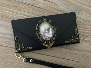 Antique gothic skull phone leather wallet case