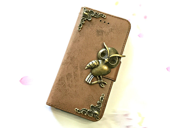 owl phone leather wallet case by icasecollections