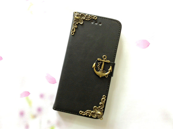 Anchor handmade phone leather wallet case for Apple / Samsung MN0005-icasecollections