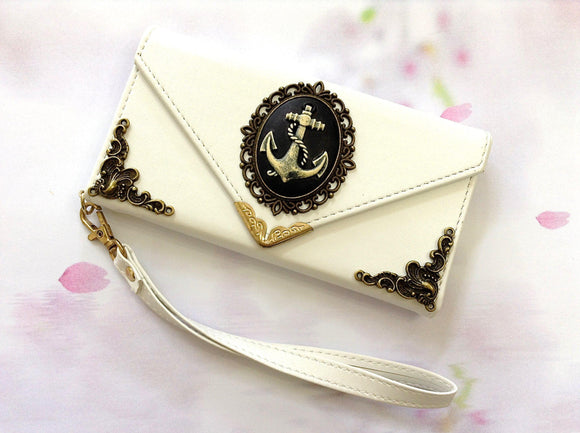 Anchor handmade phone leather wallet case for Apple / Samsung MN0015-icasecollections