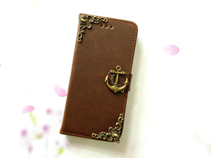 Anchor handmade phone leather wallet case for Apple / Samsung MN0076-icasecollections