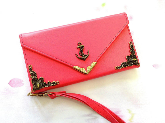 Anchor handmade phone leather wallet case for Apple / Samsung MN0213-icasecollections