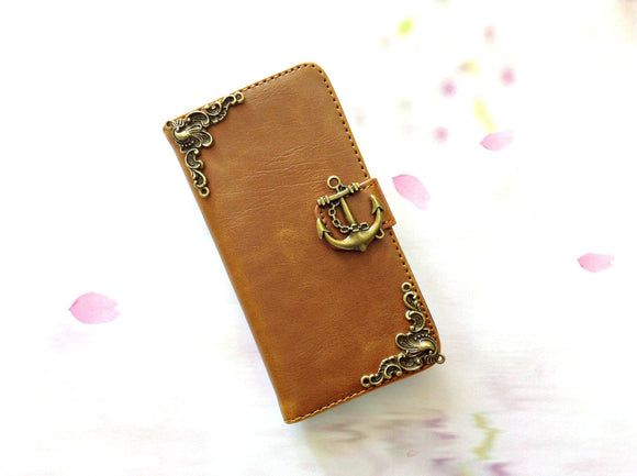 Anchor handmade phone leather wallet case for Apple / Samsung MN0262-icasecollections