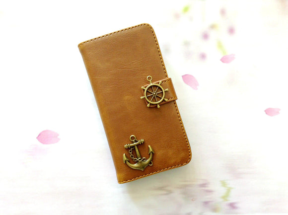 Anchor handmade phone leather wallet case for Apple / Samsung MN0270-icasecollections