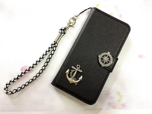 Anchor phone leather wallet removable case cover for Apple / Samsung MN0467-icasecollections