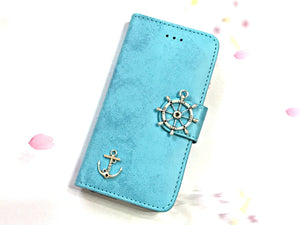 Anchor phone leather wallet stand removable case cover for Apple / Samsung MN0633-icasecollections