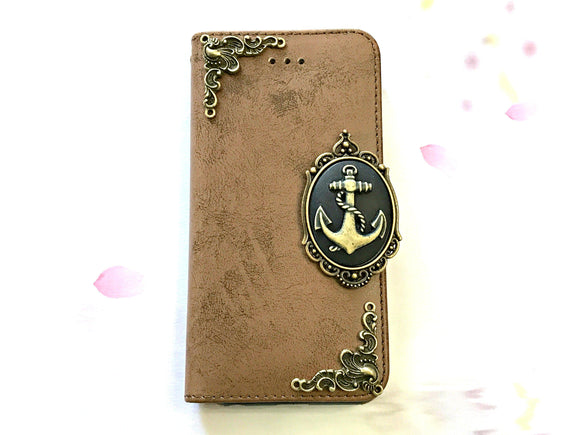Anchor phone leather wallet stand removable case cover for Apple / Samsung MN0655-icasecollections