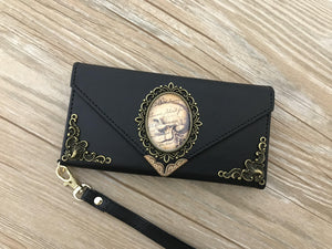 Antique goth skull phone leather wallet case, handmade phone wallet cover for Apple / Samsung DC018-icasecollections
