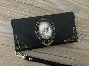 Antique goth skull phone leather wallet case, handmade phone wallet cover for Apple / Samsung DC019-icasecollections