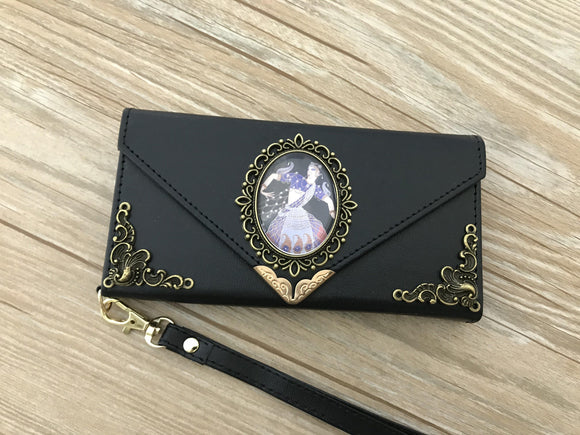 Art Deco Women phone leather wallet case, handmade phone wallet cover for Apple / Samsung DC010-icasecollections