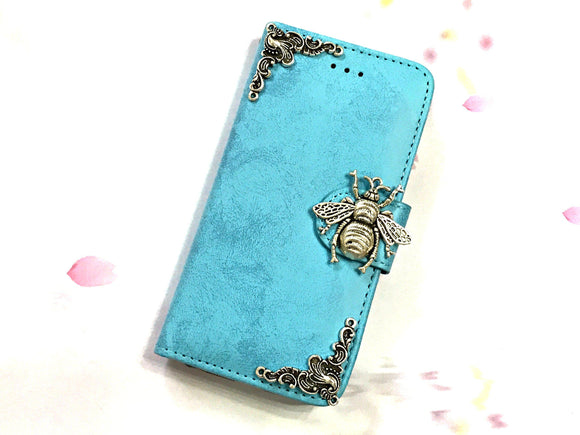 Bee phone leather wallet stand removable case cover for Apple / Samsung MN0632-icasecollections