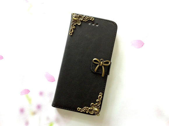 Bowknot handmade phone leather wallet case for Apple / Samsung MN0006-icasecollections