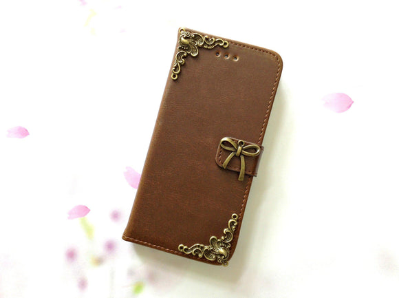Bowknot handmade phone leather wallet case for Apple / Samsung MN0086-icasecollections