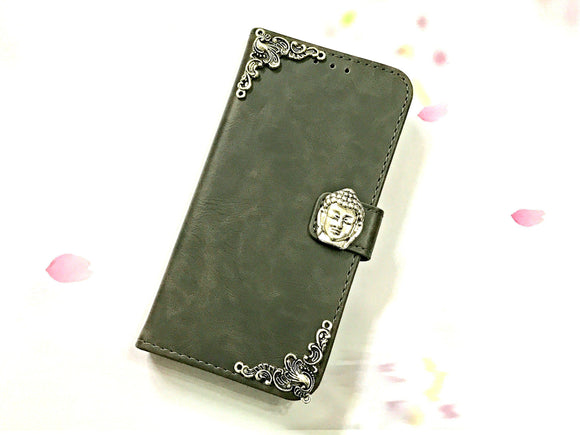 Buddha leather wallet handmade phone case cover for Apple / Samsung MN0600-icasecollections