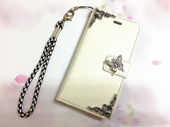 Butterfly handmade phone wallet case for Apple / Samsung MN0290-icasecollections