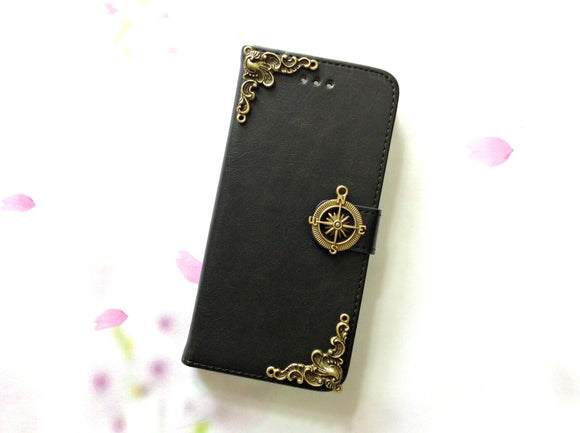Compass handmade phone leather wallet case for Apple / Samsung MN0003-icasecollections
