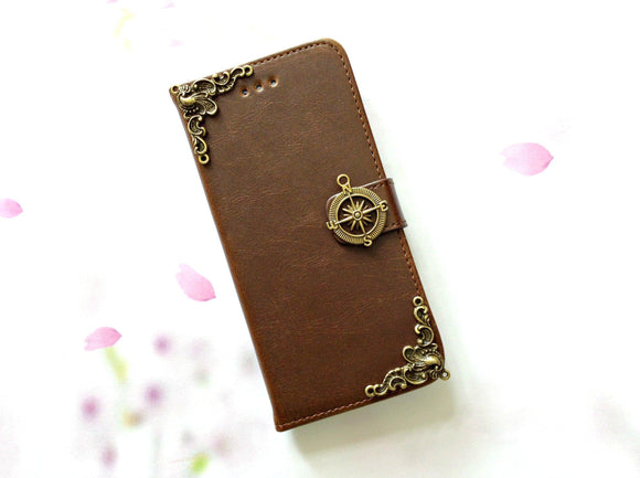 Compass handmade phone leather wallet case for Apple / Samsung MN0077-icasecollections
