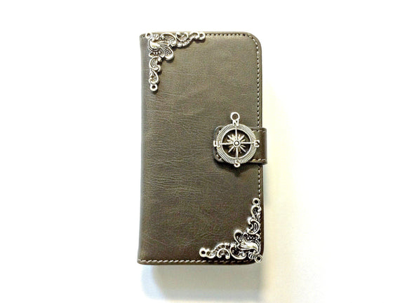 Compass handmade phone leather wallet case for Apple / Samsung MN0123-icasecollections