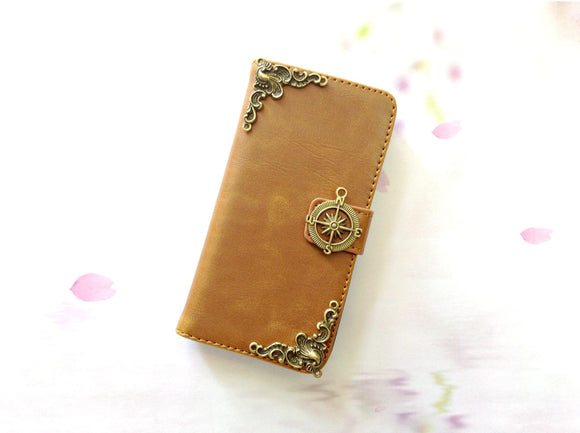Compass handmade phone leather wallet case for Apple / Samsung MN0263-icasecollections