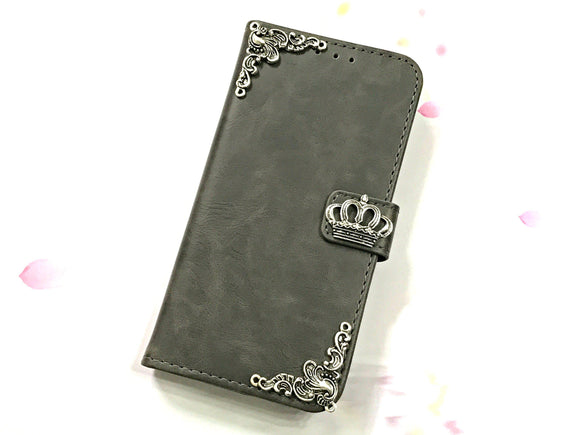 Crown leather wallet handmade phone case cover for Apple / Samsung MN0604-icasecollections