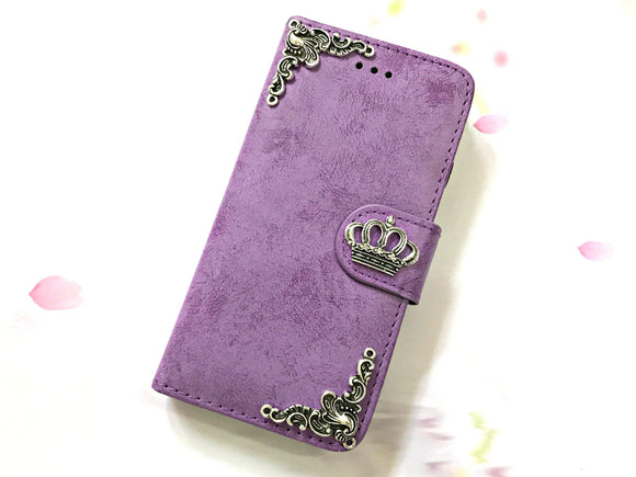 Crown phone leather wallet stand removable case cover for Apple / Samsung MN0617-icasecollections