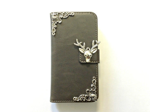 Deer handmade phone leather wallet case for Apple / Samsung MN0139-icasecollections