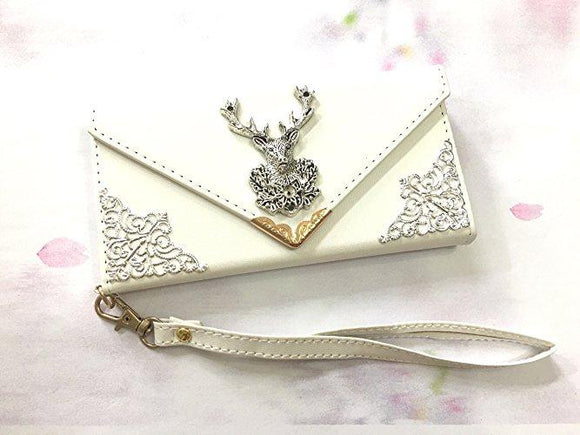 Deer phone leather wallet case, handmade phone wallet cover for Apple / Samsung MN0547-icasecollections