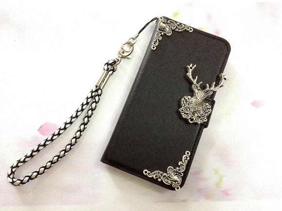 Deer phone leather wallet removable case cover for Apple / Samsung MN0470-icasecollections