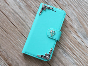 Diamond phone leather wallet removable case cover for Apple / Samsung MN0820-icasecollections