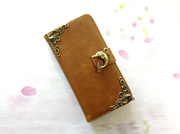 Dolphin handmade phone leather wallet case for Apple / Samsung MN0254-icasecollections