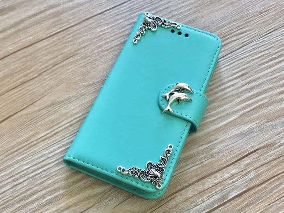 Dolphin handmade removable phone wallet case for Apple /Samsung MN0218-icasecollections