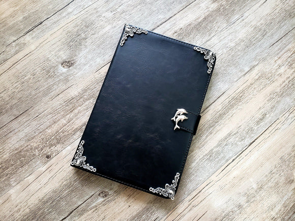 Dolphin ipad leather case, handmade ipad cover for Apple MN0969-icasecollections