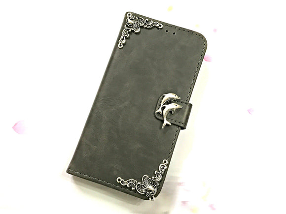 Dolphin leather wallet handmade phone case cover for Apple / Samsung MN0601-icasecollections