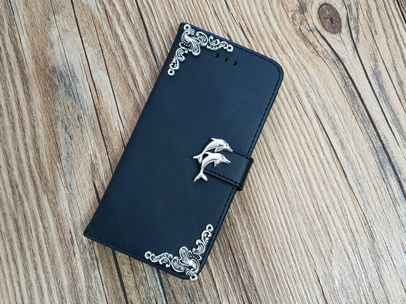Dolphin leather wallet handmade phone case cover for Apple / Samsung MN0791-icasecollections