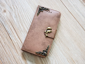 Dolphin phone leather wallet removable case cover for Apple / Samsung MN0823-icasecollections