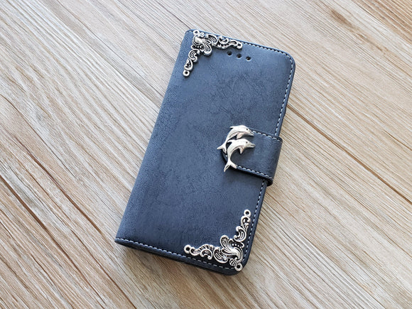 Dolphin phone leather wallet removable case cover for Apple / Samsung MN0884-icasecollections
