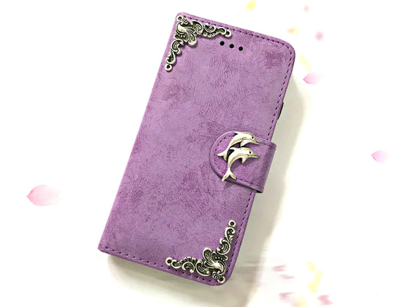 Dolphin phone leather wallet stand removable case cover for Apple / Samsung MN0613-icasecollections