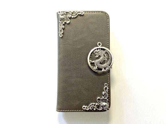 Dragon handmade phone leather wallet case for Apple / Samsung MN0124-icasecollections
