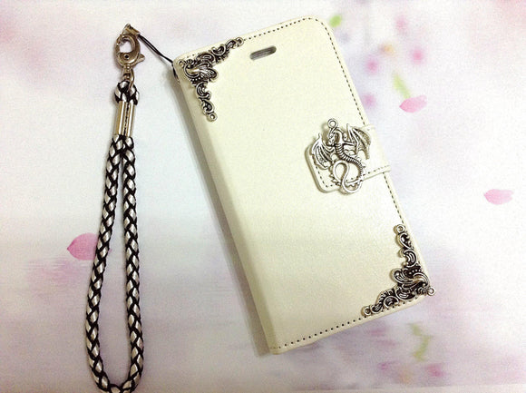 Dragon handmade phone leather wallet case for Apple / Samsung MN0288-icasecollections