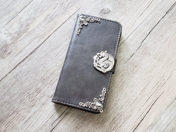 Dragon leather wallet handmade phone case cover for Apple / Samsung MN0954-icasecollections