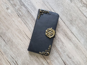 Dragon leather wallet handmade phone case cover for Apple / Samsung MN1052-icasecollections