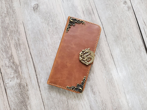 Dragon leather wallet handmade phone case for Apple / Samsung MN1088-icasecollections