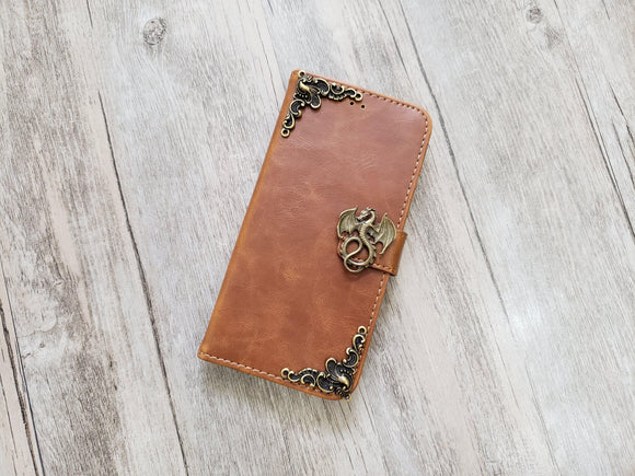 Dragon leather wallet handmade phone case for Apple / Samsung MN1112-icasecollections