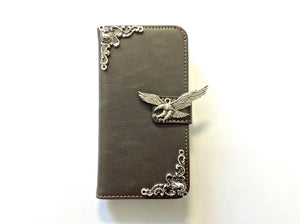 Eagle handmade phone leather wallet case for Apple / Samsung MN0134-icasecollections