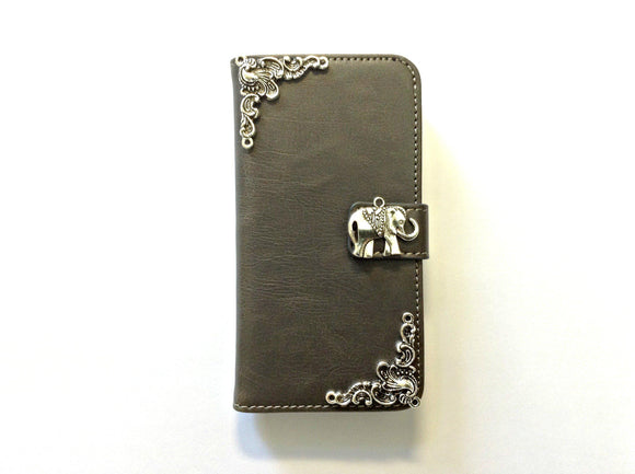 Elephant handmade phone leather wallet case for Apple / Samsung MN0132-icasecollections