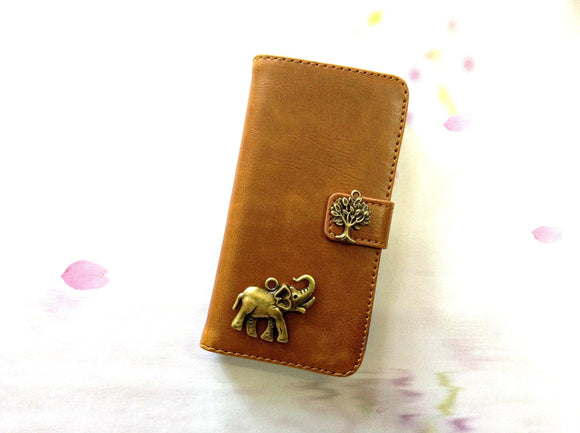 Elephant handmade phone leather wallet case for Apple / Samsung MN0252-icasecollections