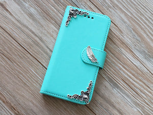 Feather phone leather wallet removable case cover for Apple / Samsung MN0810-icasecollections
