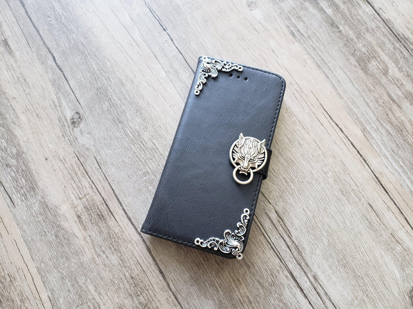 Final Fantasy 7 Cloudy Wolf leather wallet handmade phone case cover for Apple / Samsung MN1173-icasecollections